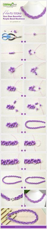 http://lc.pandahall.com/articles/2136-how-to-make-your-own-beautiful-purple-bead-necklace.html Cuentas. Enfilado