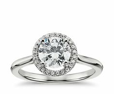 Blue Nile - 0.83. carat Good-cut, G-color, VS1-clarity Plain Shank Floating Halo Engagement Ring - add a simple plain band or with diamonds for the wedding $3,400.