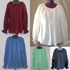 Chemise Blouse - Custom Made For Your Renaissance, Pirate, Wench or Peasant Costume. $30.00, via Etsy.