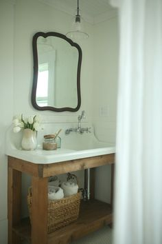 "Farmhouse Bathroom Remodel Reveal old sink from garage sale with ""homemade"" vanity built around it Bathroom Vanity Designs, Bathroom Sink Vanity, Small Bathroom, Bathroom Ideas, Bathroom Remodeling, Brown Bathroom, Master Bathrooms, Dream Bathrooms, Inexpensive Bathroom Vanity"