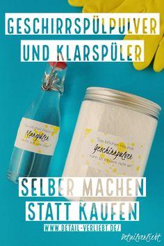 Geschirrspülpulver und Klarspüler selber machen // DIY www.detail-Verlie …: Making cheap dishwashing powder and rinse aid yourself is very easy. You can find the purely natural ingredients in every drugstore.