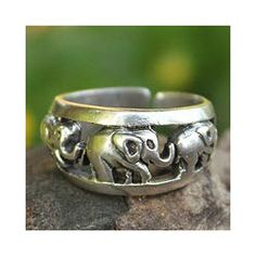 @Overstock - Made by Thai silversmiths, this beautiful handcrafted sterling silver ring by Achara will appeal to the animal lover in you. One elephant leads another on an eternal march of life, which encircles the 10mm x 3mm antique-finished piece.http://www.overstock.com/Worldstock-Fair-Trade/Sterling-Silver-Siam-Elephants-Ring-Thailand/6549694/product.html?CID=214117 $29.99