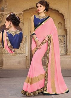 Precious Pink Embroidery Work Georgette Party Wear Sarees http://www.angelnx.com/Sarees/Party-Wear-Sarees