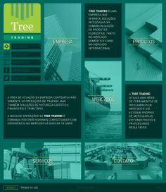 website institucional da empresa tree trading, desenvolvido pela caos!. layout responsivo.  www.treetrading.com.br