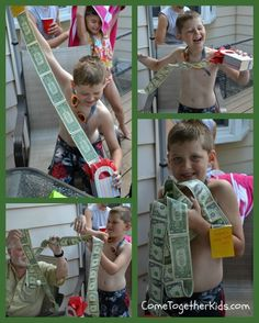 Come Together Kids: June 2012.  Tape together a string of bills.  Reciever of gift pulls tab.