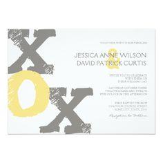 Backyard Wedding Rehearsal Dinner Yellow and Gray XOX Wedding Invitation