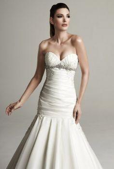 Drop Waist Wedding Dress Floor Length Satin Organza Ivory