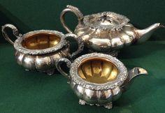 Lovely Antique Georgian Silver Plate Melon Shaped Teapot, Milk Jug & Sugar Bowl Milk Jug, Georgian, Sugar Bowl, Teapot, Silver Plate, Amp, Shapes, Antiques, Tableware