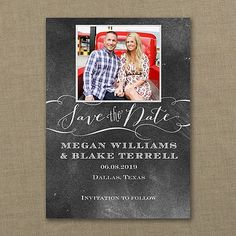 Chalkboard Date - Save the Date Card    |  40% OFF  |  http://mediaplus.carlsoncraft.com/Wedding/Save-the-Dates/3159-VZP37495WH-Chalkboard-Date--Save-the-Date-Card.pro