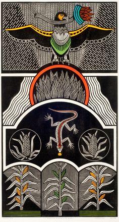 Gilvan José de Meira Lins Samico | A Conquista do fogo e do grão, 2010 | Xilogravura ed 15/120 | 94,8 x 51,3 cm | Foto: João Liberato.