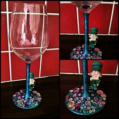 Glitter Wine Glass - The Mad Hatter - Alice in Wonderland.   Created by Crafty Nic Nax www.facebook.com/CraftyNicNax
