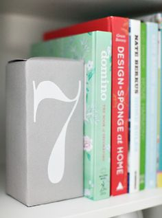 Crazy Simple Bookends- So easy! Just wrap a brick with wrapping paper and add…