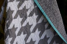 houndstooth check quilt.  Make with multi stripe or multi color fabric for the binding.