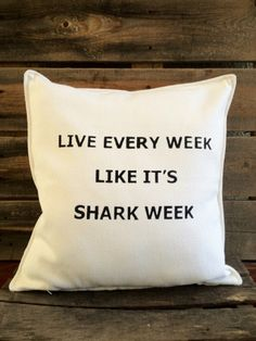 Shark Week Throw Pillow | SatMorningPancakes on Etsy