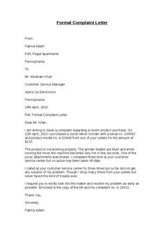 Sample complaint letter sample complaint letter pinterest complaint letter sample best photos of formal complaint letter template formal complaint spiritdancerdesigns Choice Image