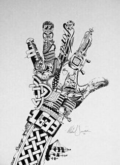 Pen and Ink Surreal Hand Drawing - Conway High School Art Project