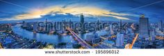 Landscape of River in Bangkok city in night time with bird view - stock photo Night Time, Bangkok, Asia, Royalty Free Stock Photos, River, Bird, Landscape, Illustration, Pictures