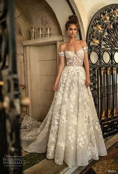 berta spring 2019 bridal off the shoulder sweetheart neckline full embellishment romantic a line wedding dress open back chapel train (1) mv -- Berta Spring 2019 Wedding Dresses | Wedding Inspirasi #wedding #weddings #bridal #weddingdress #bride ~