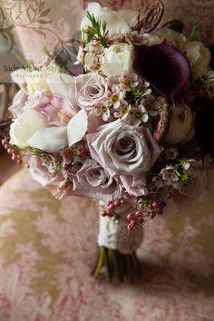 latte, mushroom, dusty pink and cream posy bouquet of roses, calla lillies, cymbidium orchids, david austen roses, peppercorn berry, fiddlehead ferns, geraldton wax www.jademcintoshflowers.com.au www.welschphotography.com.au