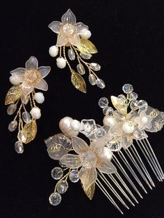 Bridal wire wrapped jewelry handmade earrings and hair comb - river pearls, goldplated leaves, artistic wire and acrylic.