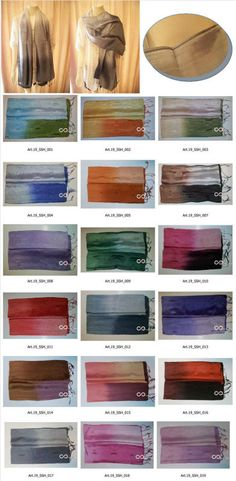 """Thai Silk Scarves Handmade - Pure 100% silk -shiny and glossy 16"""" x 67"""" in 3 color tones with label care and polybag $4.40~$7.00"""