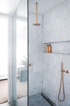 This sublime marble on that'll be hard not to take 20-minute showers in.