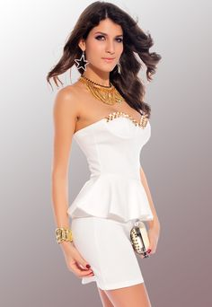 White Fashion Wrapped Chest Mini Dress