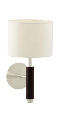 Walnut Wood and Chrome Wall Light with Fabric Shade