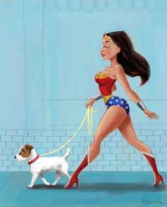 Wonder Woman walking a Jack Russell by rubenacker on Etsy, $18.00