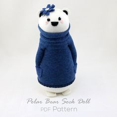 Sock Doll Polar Bear wearing a Headband Pattern PDF instant download beginner…
