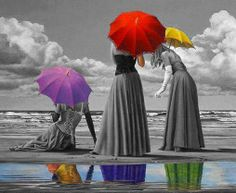Paul Kelley umbrella art 3 women at beach Splash Photography, Color Photography, Black And White Photography, Creative Photography, Color Splash Photo, Splash Images, Umbrella Art, Black And White Pictures, Black White