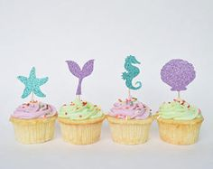 Items similar to Set of 12 Mermaid Cupcake Toppers for Under the Sea Party or Mermaid Birthday. Mermaid Party Decorations, Shell Cupcake Toppers on Etsy Mermaid Cupcake Toppers, Mermaid Cupcakes, Girl Cupcakes, Themed Cupcakes, Birthday Cupcakes, Mermaid Theme Birthday, Little Mermaid Birthday, Girl Birthday Themes, Birthday Images