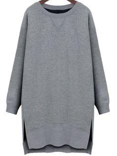 Grey Round Neck Side Split Dip Hem Sweatshirt