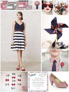 Red White & Blue Wedding Inspiration Board