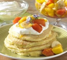 Coconut Pancakes with Tropical Fruit Salad Coconut-flecked pancakes ...