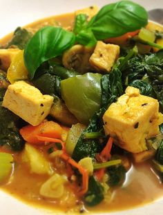 HOT AND SPICY TOFU AND VEGETABLE CASSEROLE ~ Be sure to adjust the chilli to taste in this recipe, but add enough to give it a good kick. This is a wonderful recipe and a great way to use up any leftover vegetables you may have in the house. Perfect to warm up the family when it's cold outside. http://thegourmetvegan.tumblr.com/post/37569701229/hot-and-spicy-tofu-and-vegetable-casserole