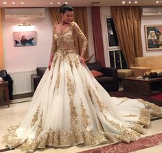 Unique Gold Appliques Evening Dresses Prom Gown Beaded Long Sleeve Custom Made