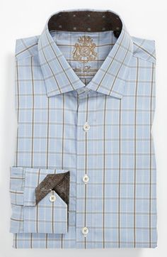 English Laundry Trim Fit Dress Shirt -Blue & Brown Checkered - Nordstrom