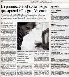 ALGO QUE APRENDER Selección en Radio City (Valencia). El Día, 28/04/2010.
