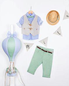 Βαπτιστικό ρουχαλάκι στα χρώματα της μέντας & του σιελ. Λαμπάδα με υφασμάτινο αερόστατο!  www.nikolas-ker.gr (Βάπτιση, boy, baby, clothes, baptism, baby, Vaftisi, vaptisi)