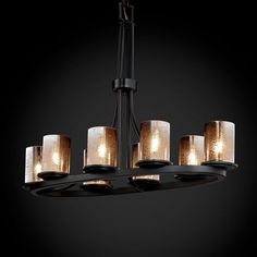 Fusion Dakota Eight Light Matte Black Oval Ring Chandelier Justice Design Group Glass Shad