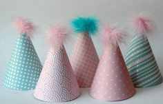 Sets of custom paper birthday hats - adorable!