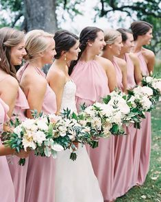Forming a perfect flower in petal inspiration Amsale Bridesmaid, Pink Bridesmaid Dresses, Wedding Dresses, Pink Wedding Colors, Real Weddings, Wedding Inspiration, Gowns, Photo And Video, Weddingideas