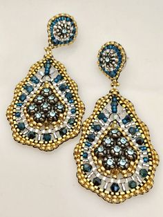 Miguel Ases Swarovski and Miyuki Earrings with Silver Rondelles