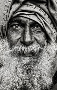 Photography - Amazing portrait in black  white. I always love the character and personality that comes through in close up black and white portraits.