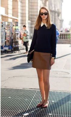 Obsessed with the tan leather skirt. Via http://www.fashionsalade.com/stylecopycat