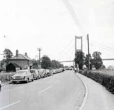 1968 Cars queue for one of the last Aust ferries to Beachley on the Welsh side