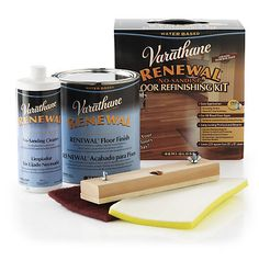 Make your tired and worn wood floor beautiful again in just one day! The Varnathane Renewal System is a no sanding floor refinishing kit. This kit restores any dull, or worn finishes and eliminates scuff marks and scratches. Compatible with all types of wood floors, even laminate! Semi-Gloss finish. Each kit will cover up to 225 sq ft of space.