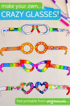 Free Printable Crazy Glasses - download, print and decorate! Picklebums makes fabulous free printables! These crazy glasses will be perfect to use with the new PETE the CAT and His Magic Sunglasses book.