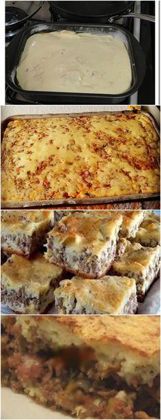 TORTA MUITO FÁCIL E RÁPIDA!!(TORTA DE CARNE MOIDA) VEJA AQUI>>>Passar tudo no liquidificador Untar a forma com margarina 1 camada de massa #MASSA#TORTA Lasagna, 1, Ethnic Recipes, Grated Cheese, Ham, Minced Beef Pie, Everything, Food Cakes, Lasagne